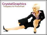 PowerPoint Template - Lady in stylish suit showing acrobatic skill.