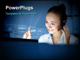 PowerPoint Template - Young woman in business wear in headset working with computer