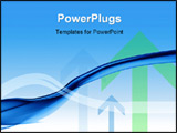 PowerPoint Template - Blue themed abstract flowing business background with arrows.