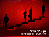 PowerPoint Template - Background with silhouettes on stairs and digital numbers