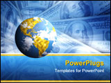 PowerPoint Template - planet on blue background with american dollars