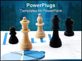 PowerPoint Template - chess man over business chart admonish to strategic behavior