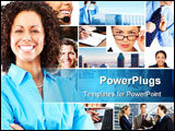 PowerPoint Template - Beautiful smiling businesswoman and successful businesspeople in the downtown.
