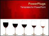 PowerPoint Template - A serie of stemmed wine glass with wine at gradually reduced levels on a white background