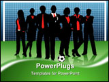 PowerPoint Template - Editable vector illustration of a business team on a soccer pitch