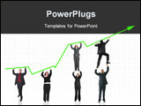 PowerPoint Template - business people pushing a business graph upwards