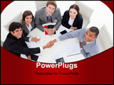 PowerPoint Template - A diverse business group closing a deal in the office