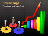 PowerPoint Template - The colour schedule with a red arrow rising upwards