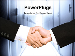 PowerPoint Template - Two businessmen shaking hands in a technology data center