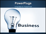 PowerPoint Template - bulb on blue background showing business concept with copyspace