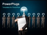 PowerPoint Template - male businessman with lamp-head and laptop have got an idea