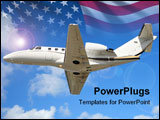 PowerPoint Template - Luxury private jet for charter travel in flight