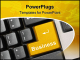 PowerPoint Template - Computer keyboard - gold key Business concept background