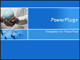PowerPoint Template - Blue template with a woman holding a globe in hands and worldmap