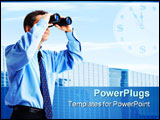 PowerPoint Template - business man with binoculars looking to the future