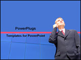 PowerPoint Template - Business man in Suit talking on the phone