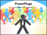 PowerPoint Template - A paper businessman stands out from the multicolored crowd. Selective focus. White background.