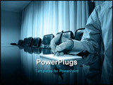 PowerPoint Template - Business manager writing on blank paper in board room, business concept