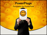 PowerPoint Template - Businesman is holding a smilie isolated on white background