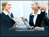 PowerPoint Template - Photo of business woman demonstrating her project to coworkers