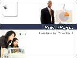PowerPoint Template - A business man with chart and businesswomen on white background .