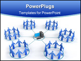 PowerPoint Template - 3d image of Business Network. White background