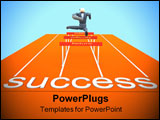 PowerPoint Template - 3d businessman jumping over obstacles