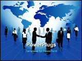 PowerPoint Template - Illustration of business people and map blue
