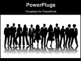 PowerPoint Template - a large group of business people in black silhouette