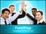 PowerPoint Template - a diverse business team celebrate their succes with a high five