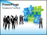 PowerPoint Template - Vector illustration of business people... world biz