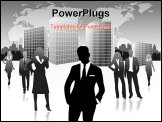 PowerPoint Template - black and white picture of business people in the city with airplane in the background