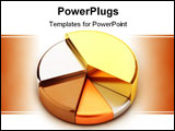 PowerPoint Template - Pie chart, made of different metals - gold, silver, bronze, copper, lead