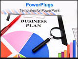 PowerPoint Template - business concept of an office desk with charts business plan form pen