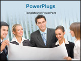 PowerPoint Template - Successful business-team planning or brainstorming at office