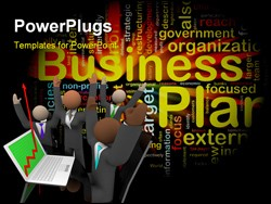 PowerPoint Template - Word cloud concept illustration of business plan glowing light effect