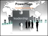 PowerPoint Template - business people with leadership puzzle in the background