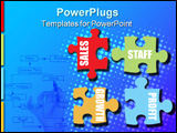PowerPoint Template - Four jigsaw pieces in pastel colours showing business metaphor for communication
