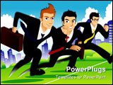 Three businessmen running as if they are racing one another