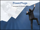 PowerPoint Template - business graph with business man climbing it up