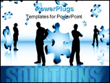 PowerPoint Template - Silhouettes of business people with falling puzzle pieces