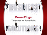 PowerPoint Template - business team of people around the business word and solutions word isolated over a white background
