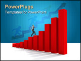 PowerPoint Template - man moving up on graph chart business growth success finances