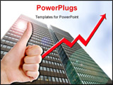 PowerPoint Template -  thumbs up with a graph line going up and up. a tall business building in the background with a len