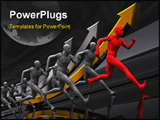 PowerPoint Template - 3d illustration of running team with leader