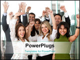 PowerPoint Template - business team in an office full of success looking happy