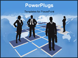 PowerPoint Template - business people standing on tiles vector drawing
