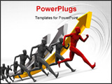 PowerPoint Template - abstract 3d illustration of running team over growing graph