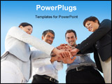 PowerPoint Template - Business people with their hands on top of each other