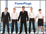 PowerPoint Template - Portrait of smart business group standing in row and looking at camera with smiles